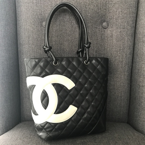 e4f63f3d181667 CHANEL Handbags - Authentic Chanel Cambon Medium Tote Black White CC